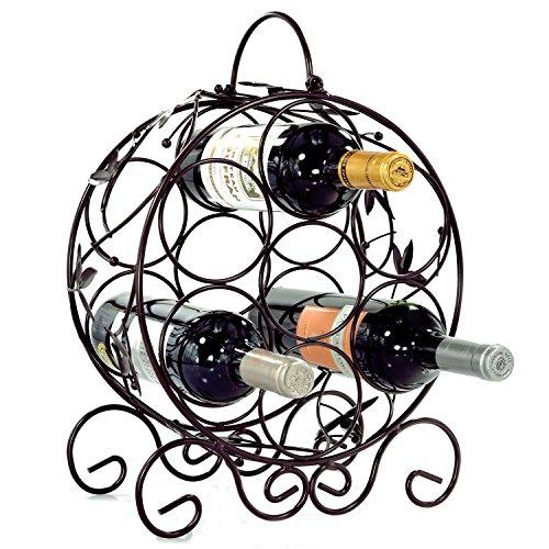 Elegant Espresso Brown Leaf Décor Metal 7 Bottle Organizer Wine Rack by (Round Wine Rack)