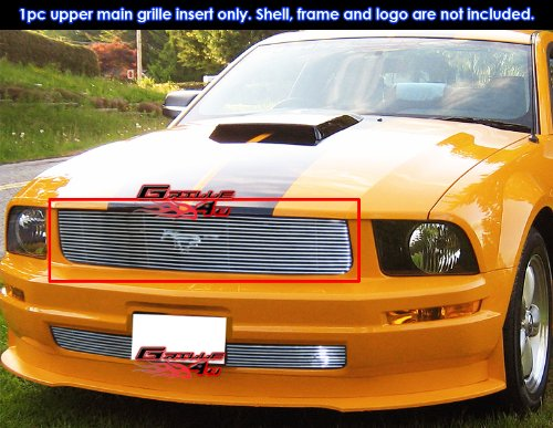 2009 Mustang Billet - APS F66012A Polished Aluminum Billet Grille Bolt Over for select Ford Mustang Models