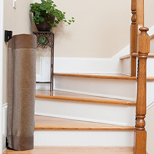 The Stair Barrier Baby and Pet Gate – Wall-to-Banister- Retractable Fabric Safety Gate Wide and Regular Sizes - Made in the USA – Mocha