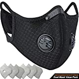 BASE CAMP Dust Breathing Mask Activated Carbon Dustproof Mask with Extra Carbon N99 Filters for Pollen Allergy Woodworking Mowing Running Cycling Outdoor Activities (Black): more info