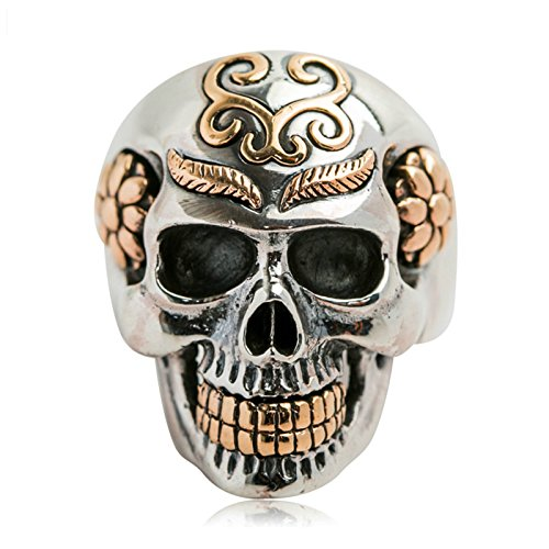 Adisaer Biker Rings Silver Ring for Men Engraved Leaf Flower Skull Head Ring Size 10.5 Vintage Punk by Adisaer