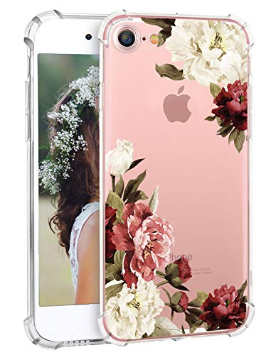 iPhone 8 Case iPhone 7 Case Hepix Floral Soft Flexible iPhone Case TPU Protective Bumper Watercolor Vintage Flowers Floral Print Case for iPhone 7]()