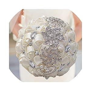 QianQianStore Artificial Wedding Bouquets Hand Made Flower Rhinestone Bridesmaid Crystal Bridal Wedding Bouquet De Mariage 37