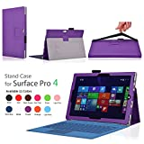 TNP Microsoft Surface Pro 4 Case (Purple) - Slim Synthetic Leather Folio Stand Smart Cover with Auto Sleep Wake Feature and Stylus Holder for Microsoft Surface Pro 4 12.3-inch Windows 10 Pro Tablet