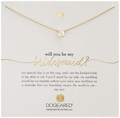Dogeared Will You Be My Bridesmaid , Small Button White Pearl Necklace, 16
