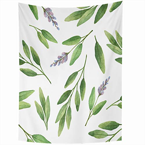 Ahawoso Tapestry 50x60 Inches Confetti Green Flower Watercolor Herb Sage Leaves Gras Branches On White Design Book Lis Wall Hanging Home Decor Tapestries for Living Room Bedroom Dorm