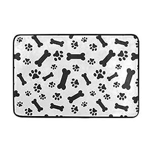 ALAZA - Felpudo para perro, diseño de huesos de perro, color blanco