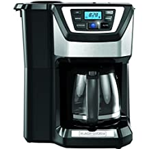 Black & Decker CM5000B Mill & Brew 12 Cup Programmable Coffeemaker with Built-In Grinder, Black/Stainless Steel