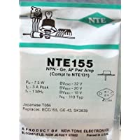 NTE Electronics NTE155 NPN Germanium Complementary Transistor for Audio Power Amplifier, TO-66 Case, 3A Collector Current, 32V Collector-Emitter Voltage
