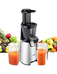 AICOK Juicer Auger Slow Masticating Juicer for Fruit and Vegetable, Vertical Faster Juicer Machine for Fresh High Nutrition Juice with Quiet Efficient Motor, Easy Clean Juice Extractor, Cold Press