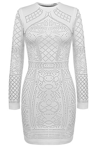 Meaneor Women's Long Sleeve Crew Neck Cocktail Dress with Diamond Beading White L