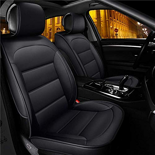 Mopow Car Seat Covers Full Set Leather Black Offline Waterproof PU Leather Interior Seat Saver Adjustable Bench Rear Seat Cushion for Most 95% Types of Car