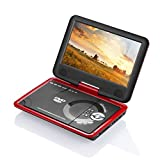 """GJY 9.5"""" Portable DVD Players with 270° Swivel Screen Built-in Rechargeable Battery SD Card/USB/Game/MP3/MP4/MP5/DVD/CD/Player,Happy Travel dvd players(Red)"""