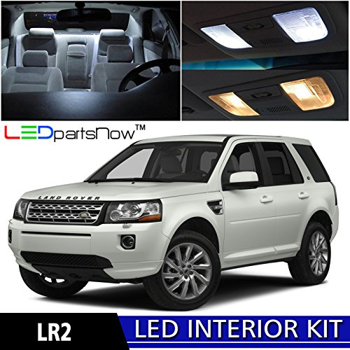LEDpartsNow 2008-2015 Land Rover LR2 Freelander SUV LED Interior Lights Accessories Replacement Package Kit (8 Pieces), WHITE
