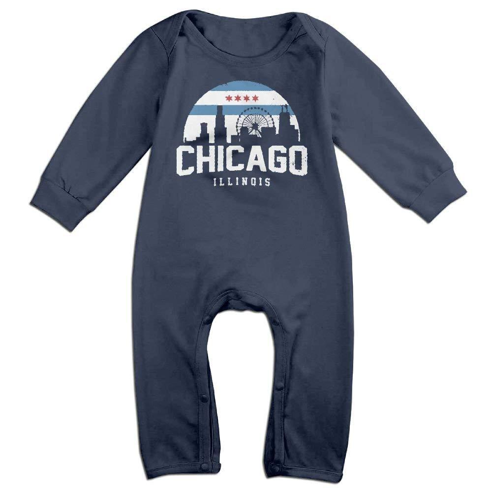 TOPDIY Chicago City Flag Skyline USA Long Sleeve Baby Romper Jumpsuit Onsies Bodysuit