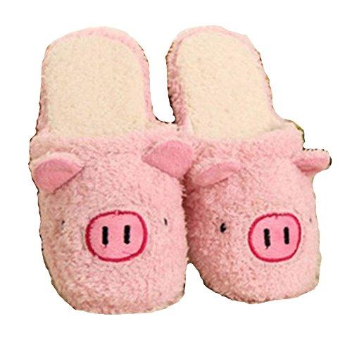 [New Winter Lover Cartoon Pig Keep Warm Plush Cotton Home Indoor Lovely Slipper (Pink)] (Child Star Wars Costume Australia)