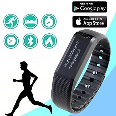 "Zencro X6 Touch Screen Fitness Tracker 0.88"" Ip65 Waterproof Bluetooth 4.0 Smart Wristband + Sleep Monitor, Black"