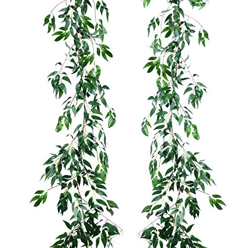 - Artiflr 2 Pack Artificial Hanging Leaves Vines, 5.7 Ft Fake Willow Leaves Twigs Silk Plant Leaves Garland String in Green for Indoor/Outdoor Wedding Decor Party Supplies Greenery Crowns Wreath