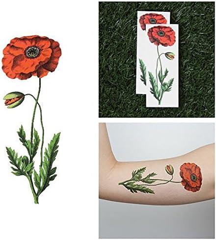 Tatuaje Temporal Tattify - Flor de amapola - Amapola y retoño ...