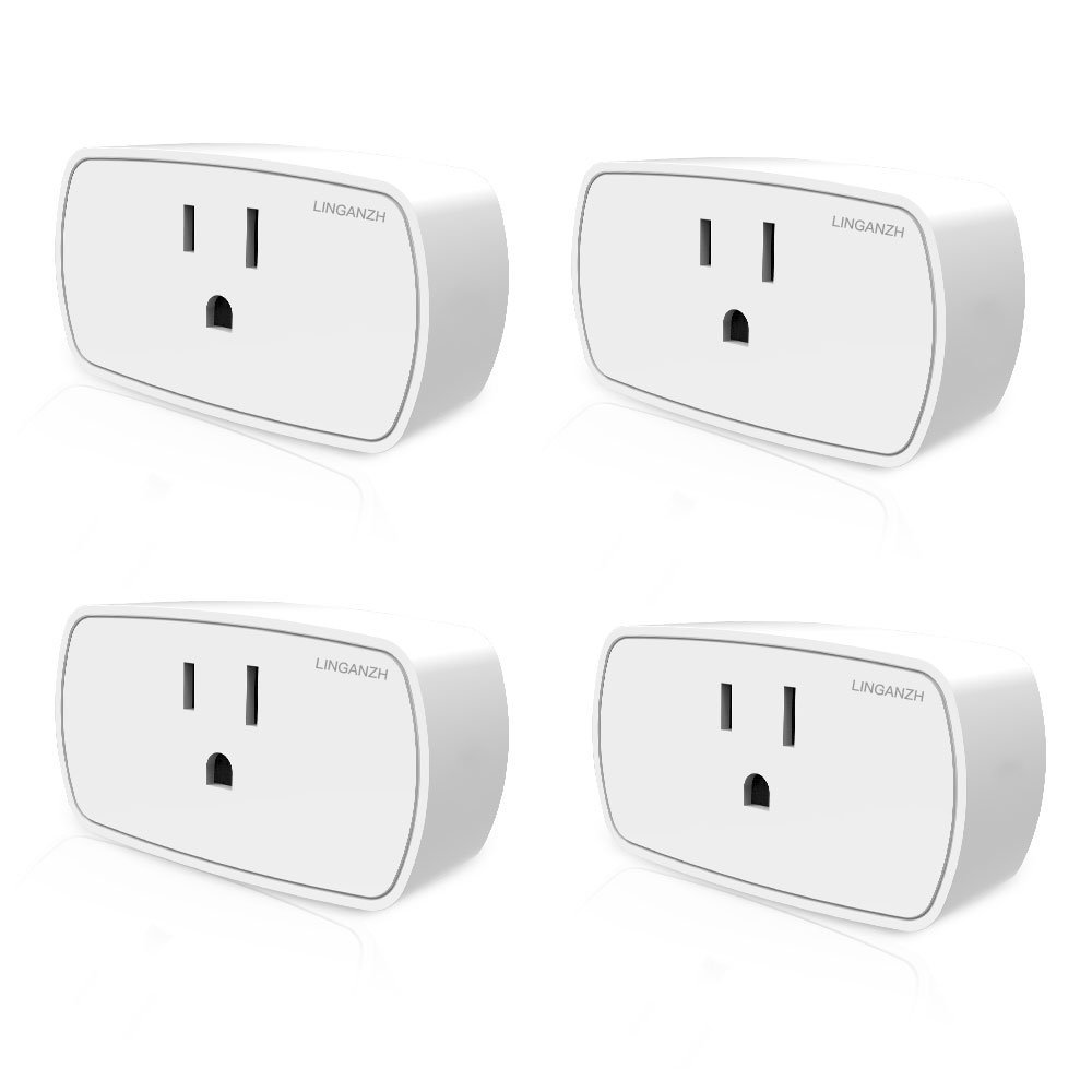 4 Pack 【Upgrade Version】 Smart Plug by LINGANZH. Wi-Fi Enabled, Remote Control from Anywhere Smart Sockets, Works with Alexa and Google Home/Assistant. No hub Required