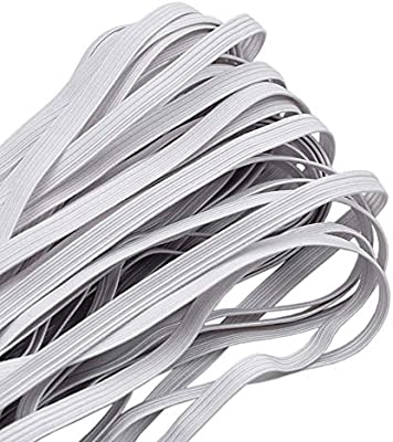 Flat Elastic Band for Clothing 6mm Wide 11 Metre White Elastic Ribbon for Sewing and Craft Stretchy Cord for Skirts and Trousers Waistbands