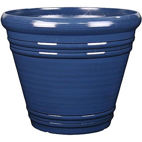 Delightful Garden Treasures 20.04 In X 17.36 In Navy Blue Resin Planter