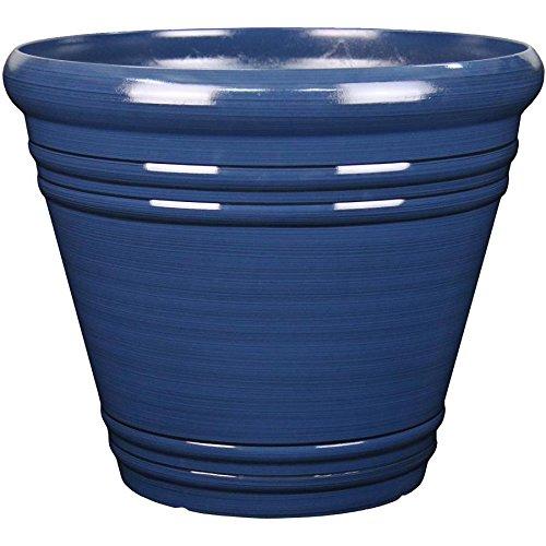 Garden Treasures 20.04-in x 17.36-in Navy Blue Resin Planter