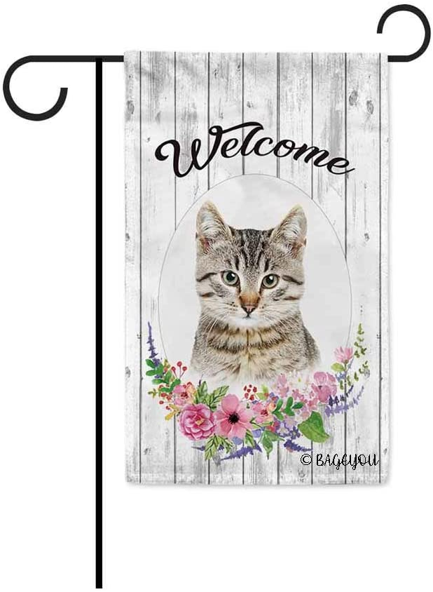 BAGEYOU Welcome Spring Summer Flowers Cute Cat Decorative Garden Flag Lovely Kitten Kitty Floral Seasonal Home Decor Banner for Ourside 12.5X18 Inch Print Double Sided