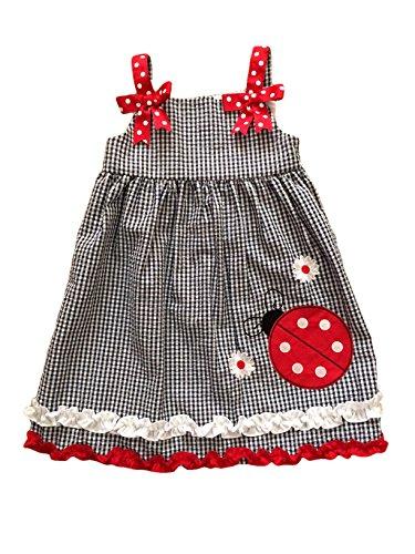 Rare Editions Infant Girls Gingham Ladybug Sundress (Large Red Ladybug, 2T)