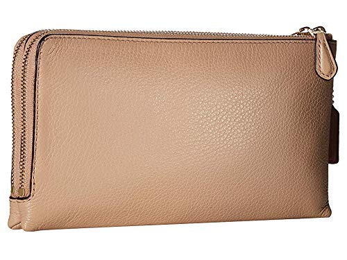 COACH Women's Pebbled Leather Double Zip Wallet Im/Nude Pink One Size