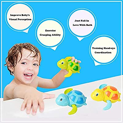 BOLLAER Baby Bath Toy, Baby Bath Toy Wind Up Bath Toys Turtle Bathtub Toys for Toddlers Floating Toys Eco-Friendly Material 3 Pack: Toys & Games