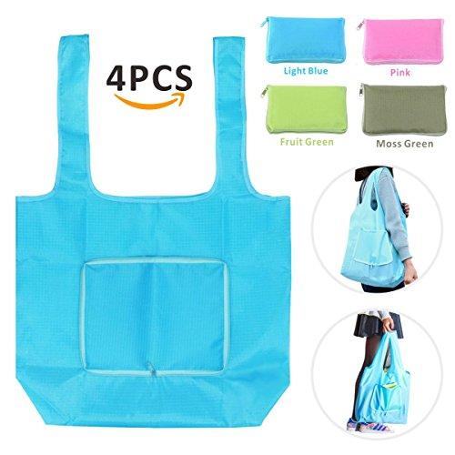 Folding Shopping Bags Reusable Grocery Foldable Eco Friendly 4PCS Ripstop Nylon Tote