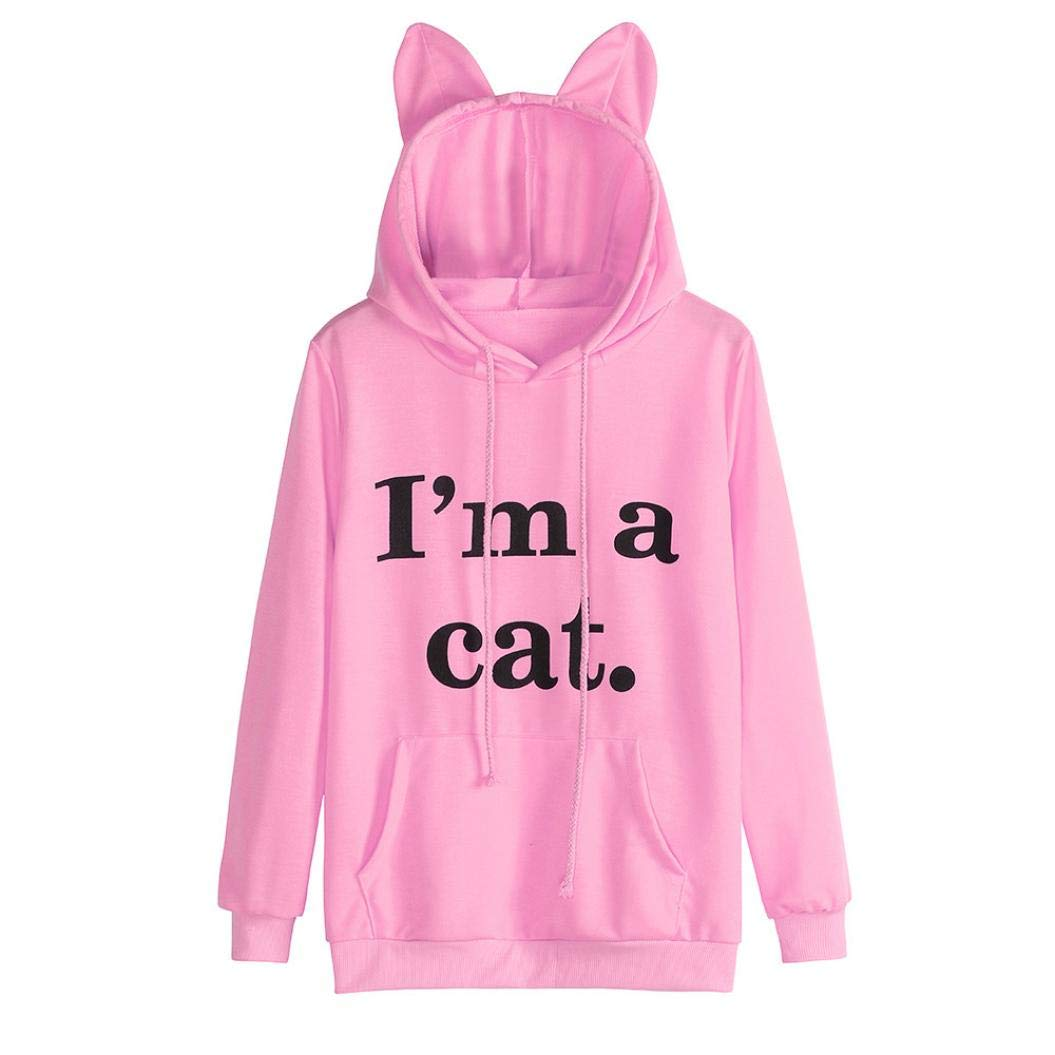 Zlolia-Blouses Preferential New Womens Cat Long Sleeve Regular Hoodie Sweatshirt Pullover Tops Blouse