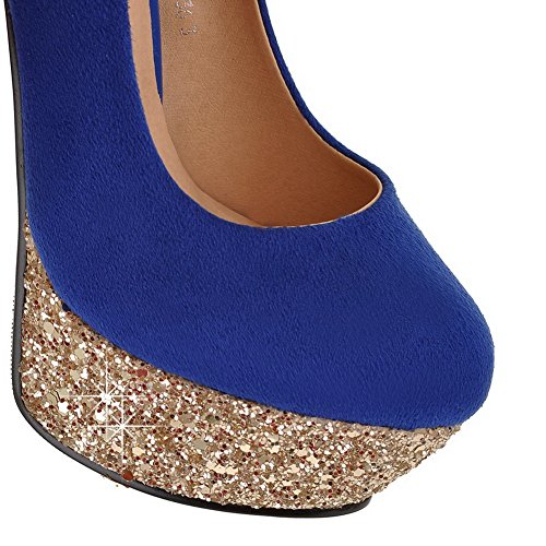 VogueZone009 Womans Closed Round Toe High Heel Spikes Stilettos PU Frosted Solid Pumps with Platform, Blue, 5 UK