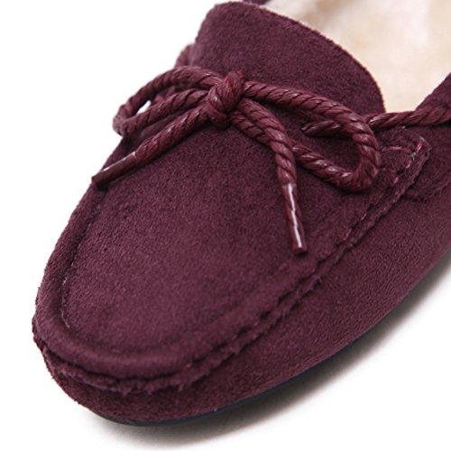 MatchLife Damen Freizeit Wool Lined Suede Mokassin Lila