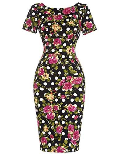 Belle-Poque-Womens-Floral-Knee-Length-Square-Neck-Slim-Vintage-Dresses