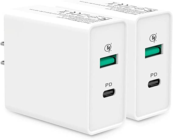 UNISAME 2Pack 18W Fast Charging Wall Plug Block Adapter for iPhone 11 Pro Xs Xr 8 7 6S iPad Pro Air Mini Samsung Galaxy S9 S10 S20 Note 10 9 LG Moto Google Pixel Android Phones Dual USB Wall Charger
