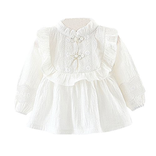 White Ruffled Top Outfit (Birdfly Toddler Baby Girls Frilled Ruffle Blouse With Lace Detail Cute Long Sleeve Shirt Tops (24M, White))