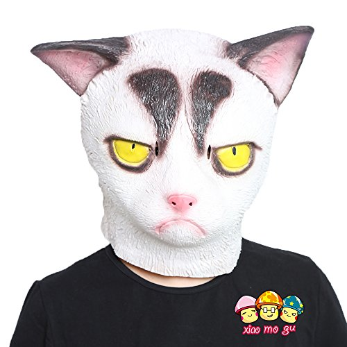 XIAO MO GU Deluxe Novelty Halloween Costume Party Latex Grumpy Cat Animal Head Mask (Cute Scary Halloween Costumes)