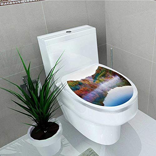 - Philip C. Williams Toilet Seat Wall Stickers Paper Magical and in Fall Heavenly ces on Earth Print Green Blue Orange Decals DIY Decoration W11 x L13
