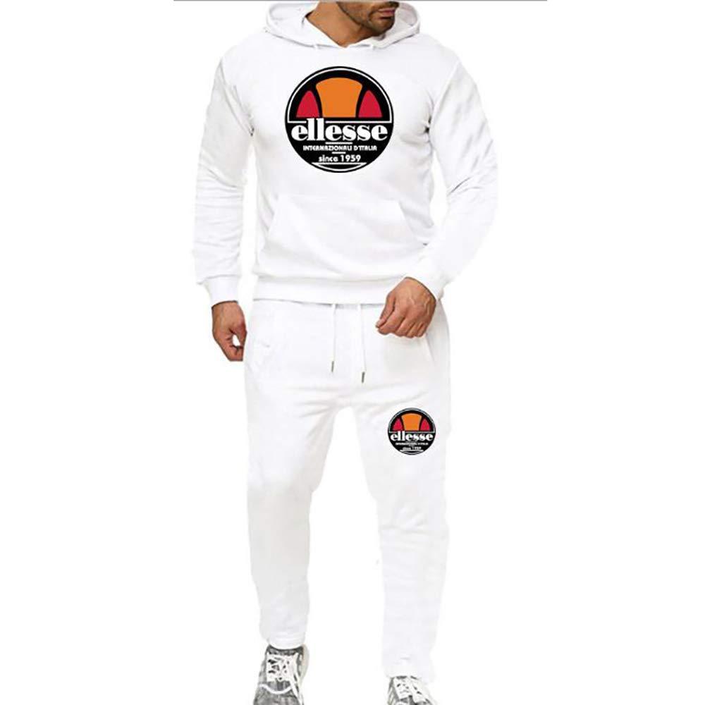 JHY Pull Casual Sportswear Hommes 2 pi/èces de Jogging de Sport,Bleu,M