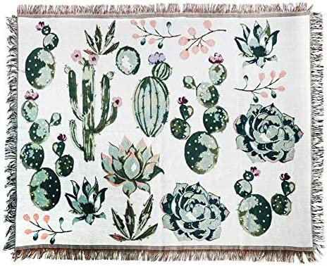 ANswet Tapestry Wall Hanging,Handicrafts Tapestry, Jacquard Succulent Tapestry, Multipurpose Soft Travel Mat, Outdoor Shawl Colourful Tassels Wall Cactus Mat 50×60 inch Cactus