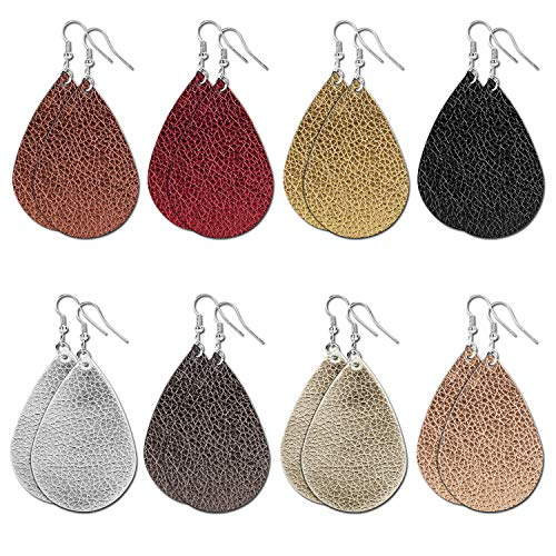 Tenpluszero 8 Pairs Leather Earrings for Womens - Faux Leather Teardrop Earring Lightweight Drop Dangle Fashion Earrings for Women Girls