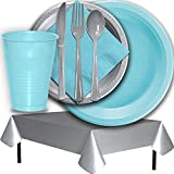 Plastic Party Supplies for 50 Guests - Light Blue and Silver - Dinner Plates, Dessert Plates, Cups, Lunch Napkins, Cutlery, and Tablecloths - Premium Quality Tableware Set