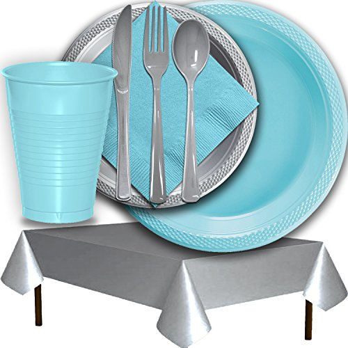 Plastic Party Supplies for 50 Guests - Light Blue and Silver - Dinner Plates, Dessert Plates, Cups, Lunch Napkins, Cutlery, and Tablecloths - Premium Quality Tableware Set (Lunch Napkin Blue Light)