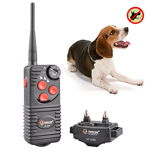 Aetertek At-216D-550M 100% Waterproof Rechargeable Electronic Dog Shock Training Collar with Remote 7 Levels of Shock Beep Vibration