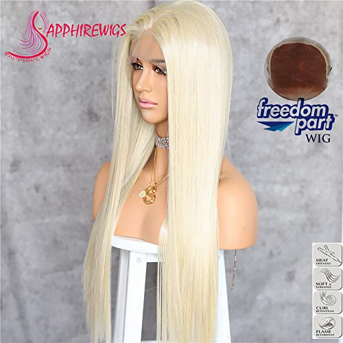 Sapphirewigs Golden Blonde #613 Straight Style Kanekalon Futura Hair No-Tangle Natural Hairline 6''×13'' Deep Big Lace Freedom Part Daily Makeup Gift Blogger Celebrity Synthetic Lace Front Wigs ... Celebrity Style Lace Wigs
