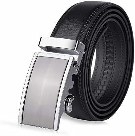 Vbiger Men's Leather Belt Sliding Buckle 35mm Ratchet Belt Black