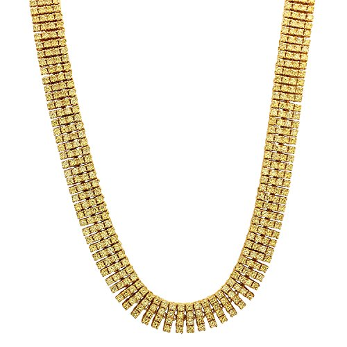 32 Inch 4-Row 14k Gold Plated Iced Out Hip Hop Chain with Yellow CZ Stones + Jewelry Polishing Cloth by The Bling Factory