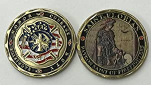 Aizics ST. Florian - Patron Saint of Firefighters - Beautiful Challenge Coin - Honor - Sacrifice - Courage - Duty by Aizics
